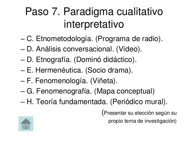 Paso 7. Paradigma cualitativo         interpretativo– C. Etnometodología. (Programa de radio).– D. Análisis conversacional...