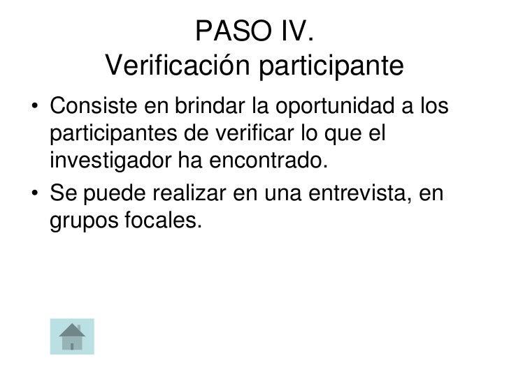PASO IV.       Verificación participante• Consiste en brindar la oportunidad a los  participantes de verificar lo que el  ...