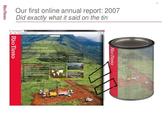 2  Our first online annual report: 2007  Did exactly what it said on the tin