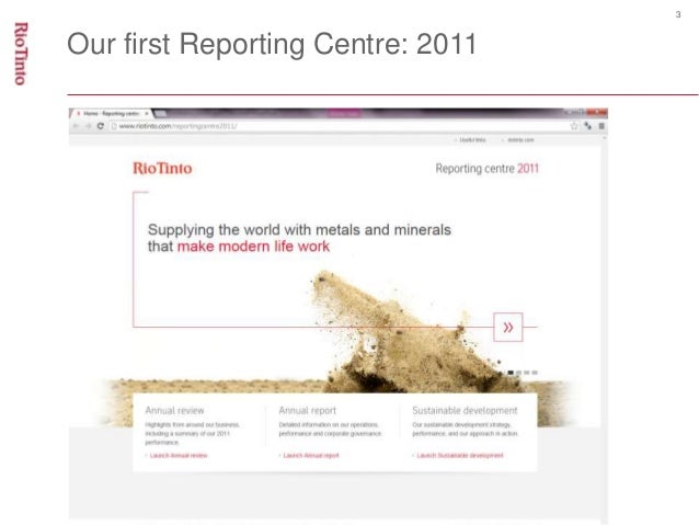 3  Our first Reporting Centre: 2011
