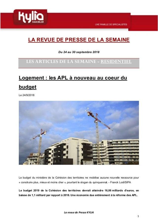 La Revue De Presse KYLIA 1 LA REVUE DE PRESSE SEMAINE Du 24 Au