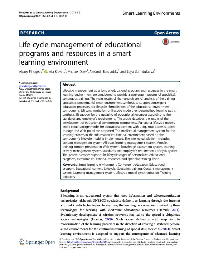 RESEARCH Open Access Life-cycle management of educational programs and resources in a smart learning environment Alexey Fi...