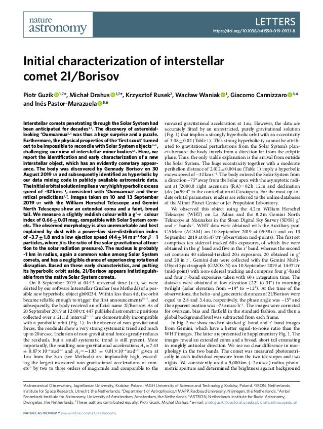 Letters https://doi.org/10.1038/s41550-019-0931-8 1 Astronomical Observatory, Jagiellonian University, Kraków, Poland. 2 A...