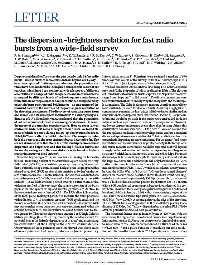 Letter https://doi.org/10.1038/s41586-018-0588-y The dispersion–brightness relation for fast radio bursts from a wide-fiel...