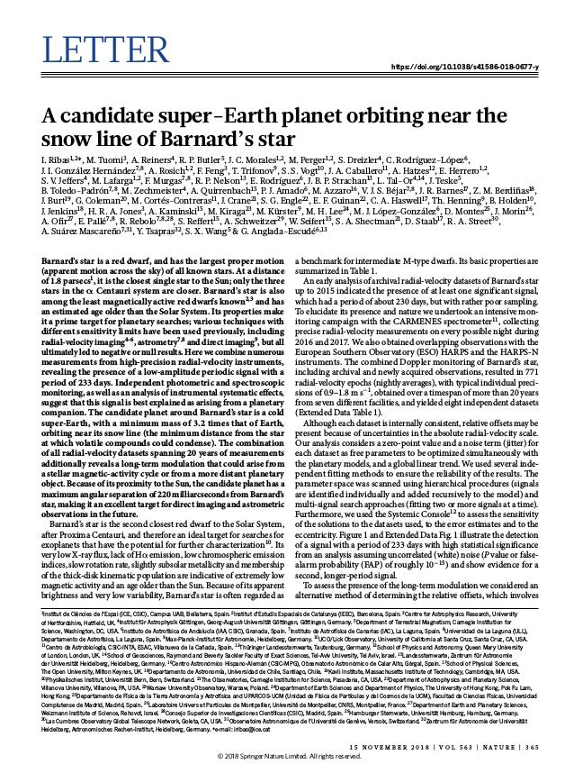 Letter https://doi.org/10.1038/s41586-018-0677-y A candidate super-Earth planet orbiting near the snow line of Barnard's s...