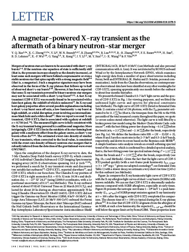 Letter https://doi.org/10.1038/s41586-019-1079-5 A magnetar-powered X-ray transient as the aftermath of a binary neutron-s...