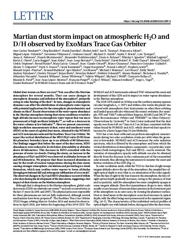 Letter https://doi.org/10.1038/s41586-019-1097-3 Martian dust storm impact on atmospheric H2O and D/H observed by ExoMars ...