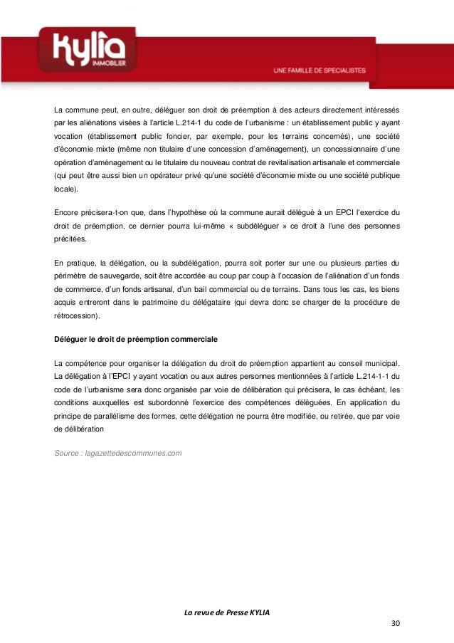 Larevue de presse de la semaine du 12 au 18 octobre 2015 - Le droit de preemption ...