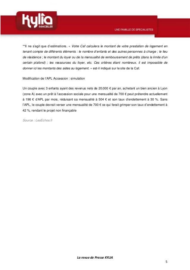 S44 revue de presse kylia semaine du 27 octobre au 2 - Comment calculer le plafond de ressources caf ...