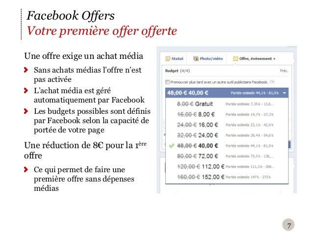 Facebook OffersVotre première offer offerteU ne offre exige un achat média  Sans achats médias l'offre n'est  pas activée...