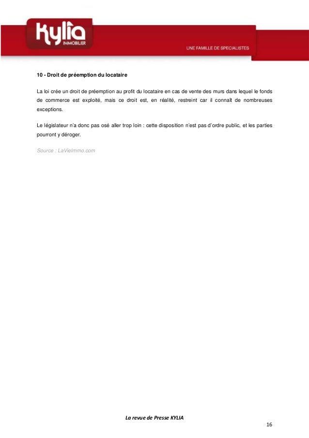 S49 revue de presse kylia semaine du 1 au 7 d cembre 2014 - Le droit de preemption ...