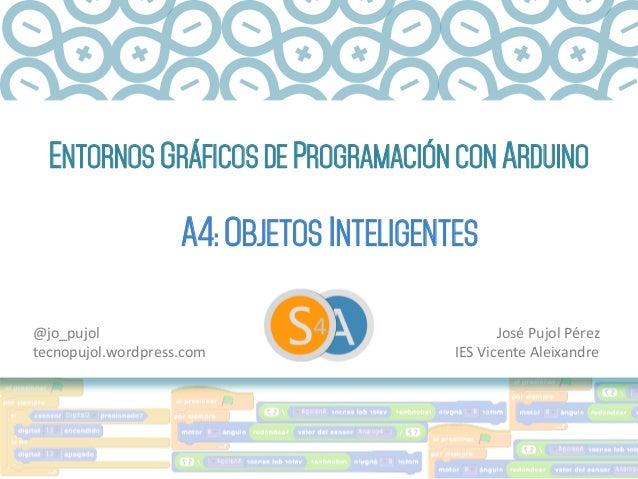 ENTORNOS GRÁFICOS DE PROGRAMACIÓN CON ARDUINO A4: OBJETOS INTELIGENTES José  Pujol  Pérez   IES  Vicente  Aleixa...