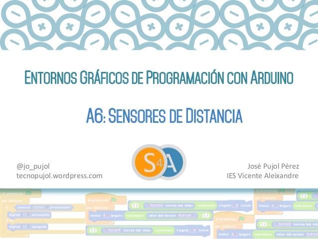 ENTORNOS GRÁFICOS DE PROGRAMACIÓN CON ARDUINO A6: SENSORES DE DISTANCIA José  Pujol  Pérez   IES  Vicente  Aleix...