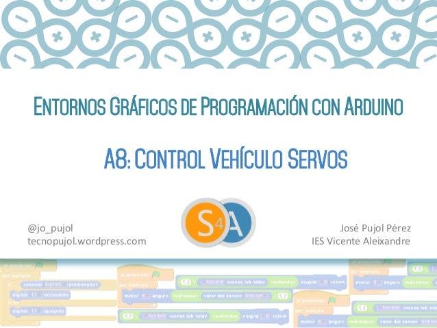 ENTORNOS GRÁFICOS DE PROGRAMACIÓN CON ARDUINO A8: CONTROL VEHÍCULO SERVOS José  Pujol  Pérez   IES  Vicente  Ale...
