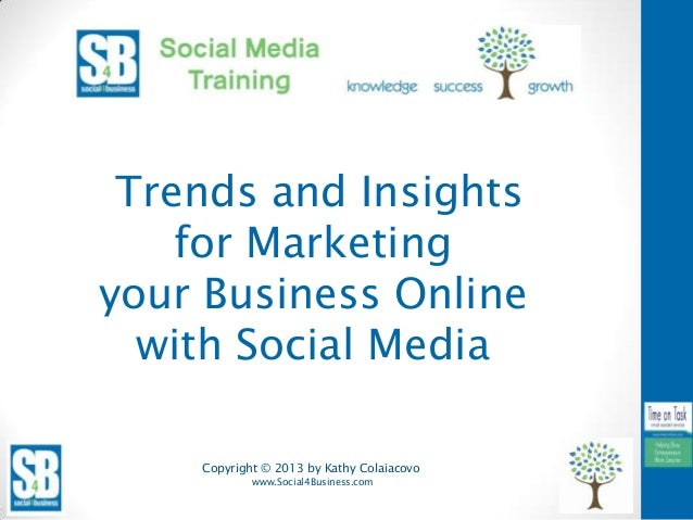 Copyright © 2013 by Kathy Colaiacovowww.Social4Business.comTrends and Insightsfor Marketingyour Business Onlinewith Social...