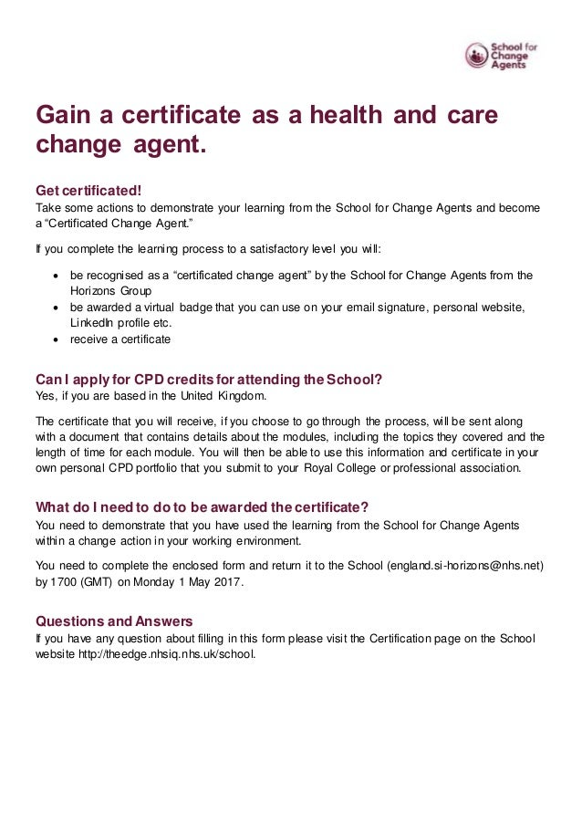 School For Change Agents Certification Application Form