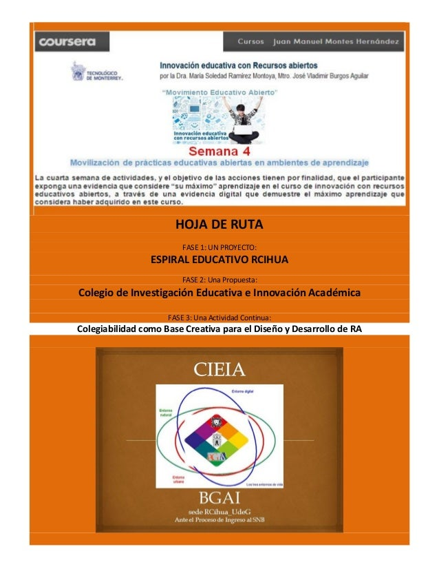 HOJA DE RUTA FASE 1: UN PROYECTO: ESPIRAL EDUCATIVO RCIHUA FASE 2: Una Propuesta: Colegio de Investigación Educativa e Inn...