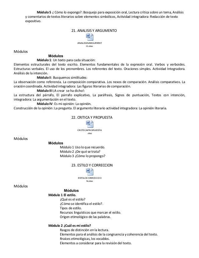Módulo 5 ¿ Cómo lo expongo?: Bosquejo para exposición oral, Lectura crítica sobre un tema, Análisis y comentarios de texto...