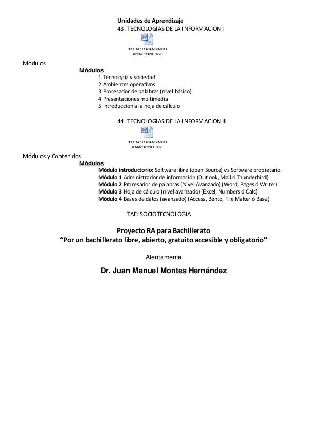 Unidades de Aprendizaje 43. TECNOLOGIAS DE LA INFORMACION I TECNOLOGIASINFO RMACIONI.doc Módulos Módulos 1 Tecnología y so...