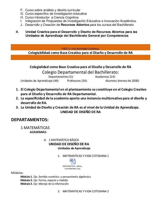 F. Curso sobre análisis y diseño curricular G. Curso específico de Investigación educativa H. Curso introductor a Ciencia ...