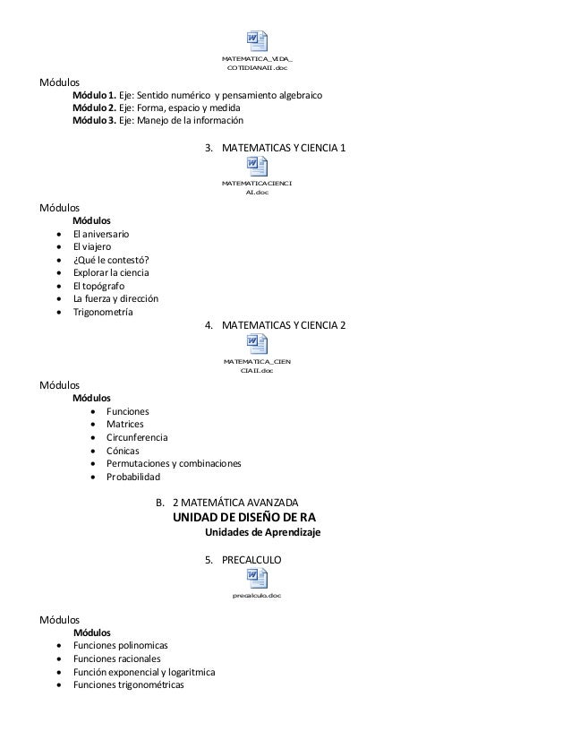 MATEMATICA_VIDA_ COTIDIANAII.doc Módulos Módulo 1. Eje: Sentido numérico y pensamiento algebraico Módulo 2. Eje: Forma, es...