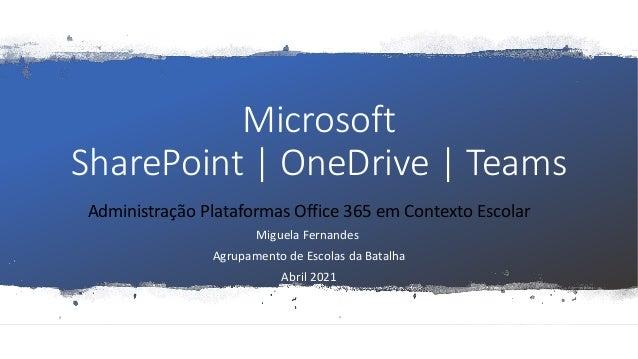 Microsoft SharePoint | OneDrive | Teams Administração Plataformas Office 365 em Contexto Escolar Miguela Fernandes Agrupam...