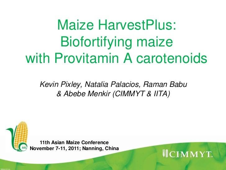 Maize HarvestPlus:      Biofortifying maizewith Provitamin A carotenoids   Kevin Pixley, Natalia Palacios, Raman Babu     ...
