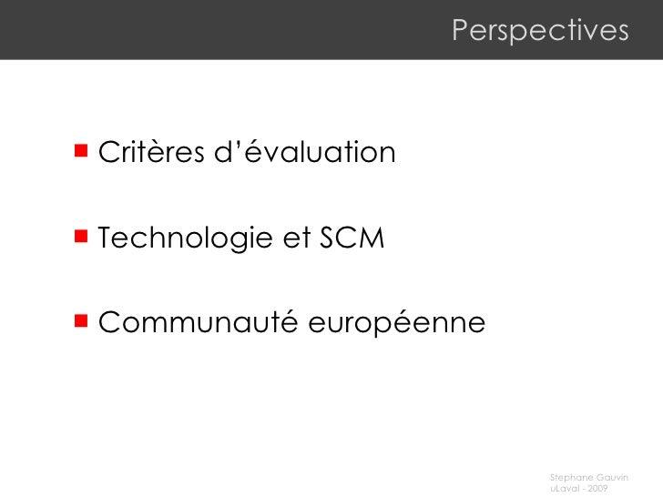 Perspectives <ul><li>Critères d'évaluation </li></ul><ul><li>Technologie et SCM </li></ul><ul><li>Communauté européenne </...