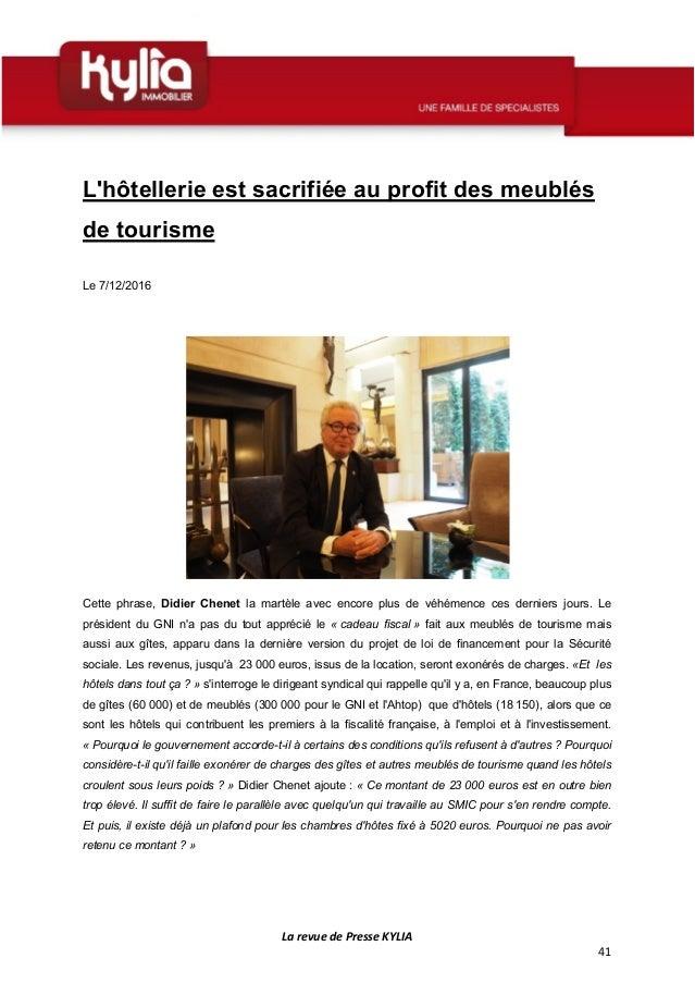 S50 revue de presse kylia semaine du 5 au 11 d cembre 2016 - Declaration revenus location meuble de tourisme ...