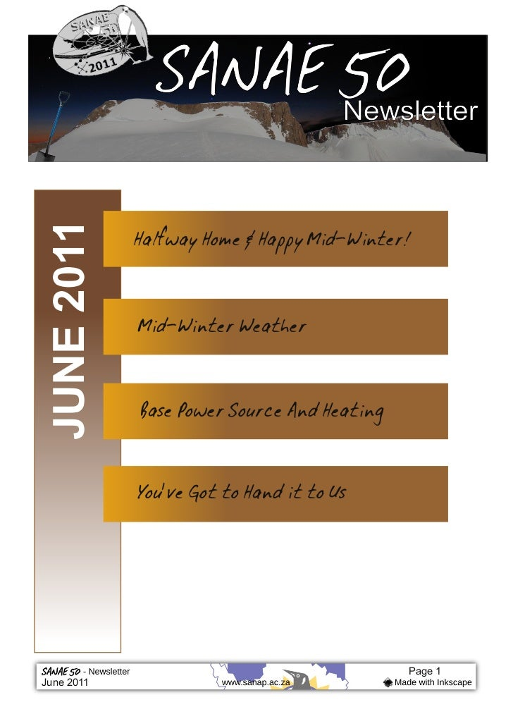 Halfway Home & Happy Mid‐Winter!JUNE 2011             Mid‐Winter Weather             Base Power Source And Heating        ...