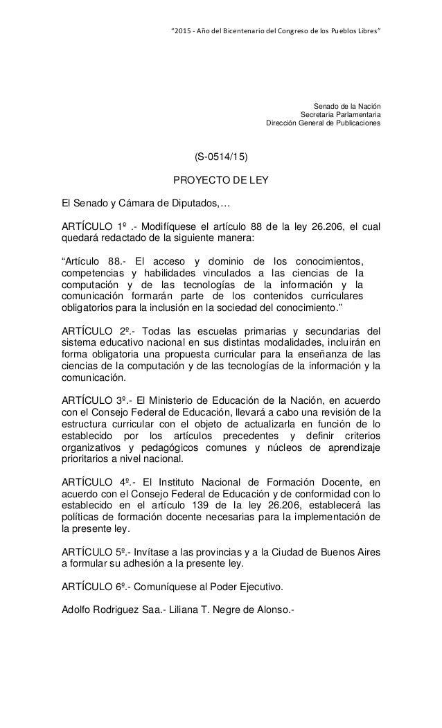 """""""2015‐AñodelBicentenariodelCongresodelosPueblosLibres""""  Senado de la Nación Secretaria Parlamentaria Dirección..."""