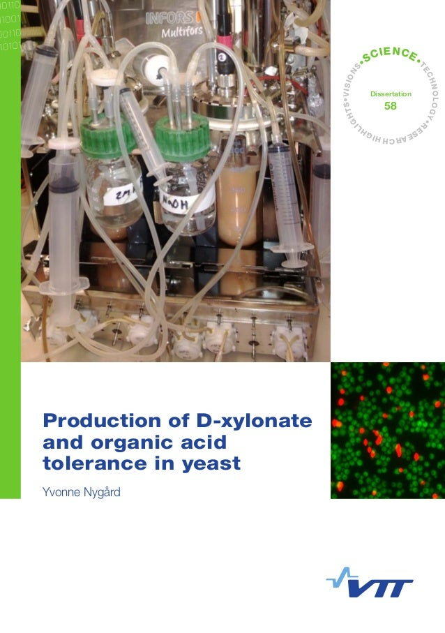 •VISIONS •SCIENCE• TECHNOLOGY•R ESEARCHHIGHL IGHTS Dissertation 58 Production of D-xylonate and organic acid tolerance in ...