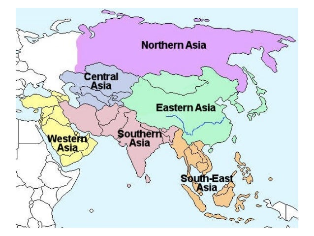 Map Of Asia With 5 Regions.Ls 106 Asia