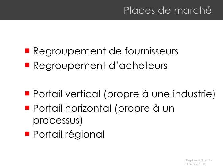 Places de marché <ul><li>R egroupement de fournisseurs </li></ul><ul><li>R egroupement d'acheteurs </li></ul><ul><li>Porta...
