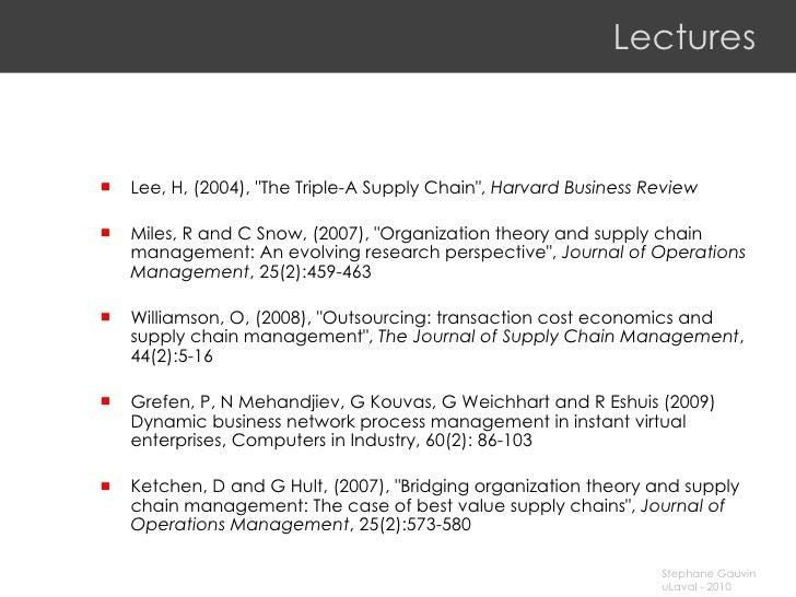 Lectures <ul><li>Lee, H, (2004), &quot;The Triple-A Supply Chain&quot;,  Harvard Business Review </li></ul><ul><li>Miles, ...