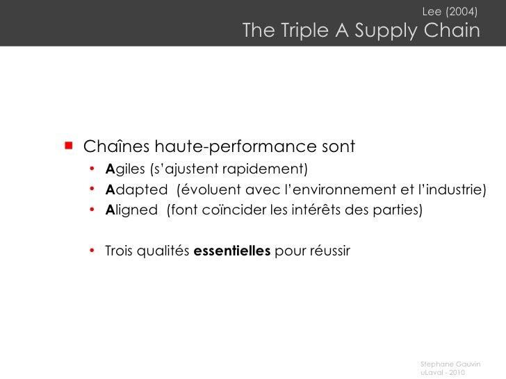Lee (2004)   The Triple A Supply Chain <ul><li>Chaînes haute-performance sont </li></ul><ul><ul><li>A giles (s' ajustent r...