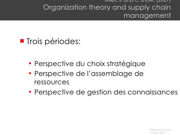 Miles, R and C Snow, (2007) Organization theory and supply chain management <ul><li>Trois périodes: </li></ul><ul><ul><li>...