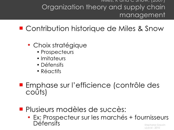Miles, R and C Snow, (2007) Organization theory and supply chain management <ul><li>C ontribution historique de Miles & Sn...