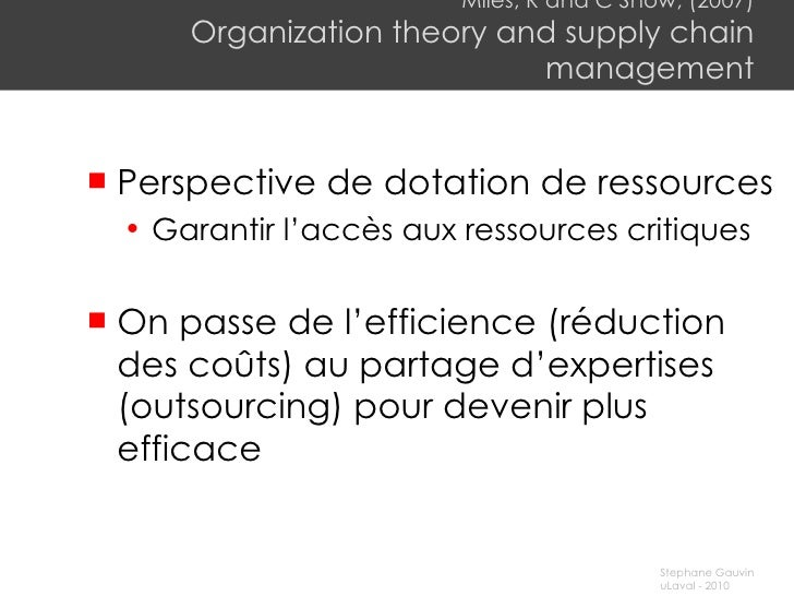 Miles, R and C Snow, (2007) Organization theory and supply chain management <ul><li>Perspective de dotation de ressources ...