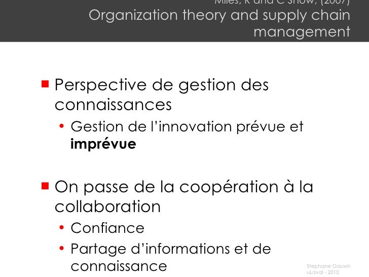 Miles, R and C Snow, (2007) Organization theory and supply chain management <ul><li>Perspective de gestion des connaissanc...