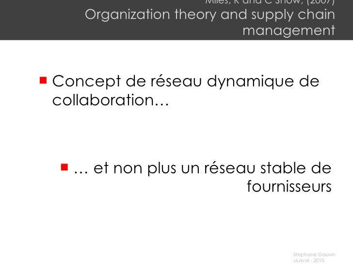 Miles, R and C Snow, (2007) Organization theory and supply chain management <ul><li>Concept de réseau dynamique de collabo...