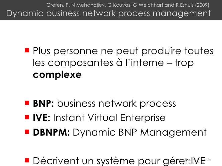 Grefen, P, N Mehandjiev, G Kouvas, G Weichhart and R Eshuis (2009)  Dynamic business network process management <ul><li>Pl...