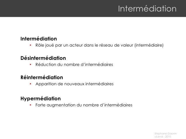 Intermédiation <ul><li>Intermédiation </li></ul><ul><ul><li>Rôle joué par un acteur dans le réseau de valeur (intermédiair...