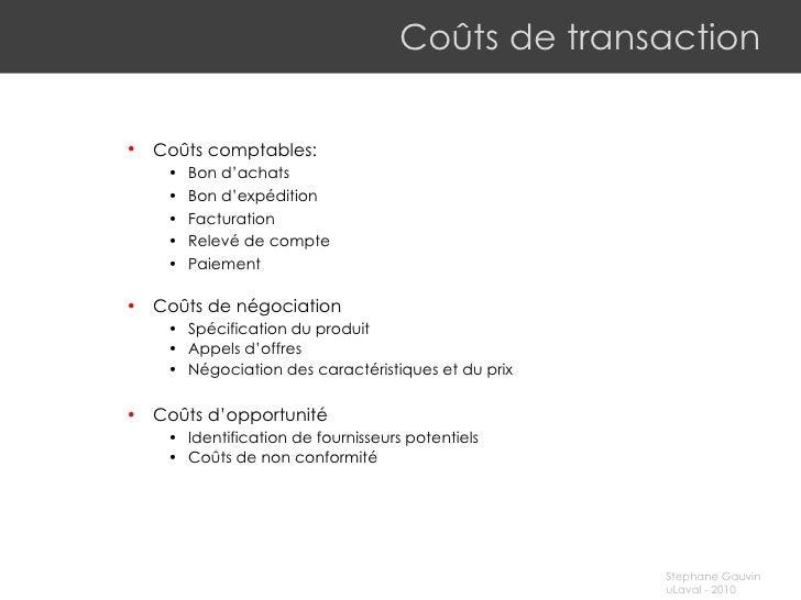 Coûts de transaction <ul><ul><li>Coûts comptables:  </li></ul></ul><ul><ul><ul><li>B on d'achats </li></ul></ul></ul><ul><...