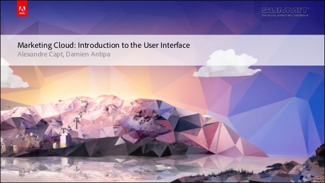 © 2014 Adobe Systems Incorporated. All Rights Reserved. Adobe Confidential. Marketing Cloud: Introduction to the User Inte...