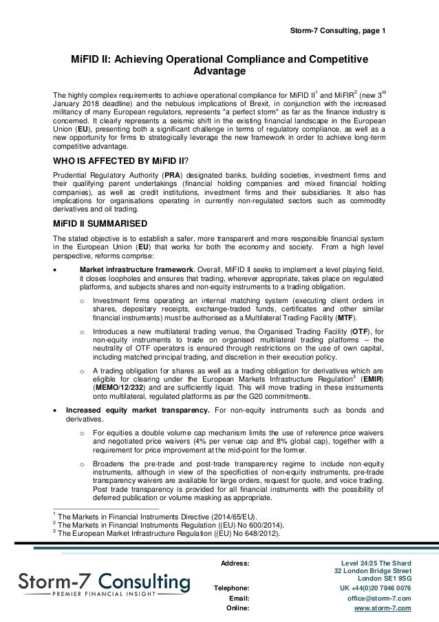 Storm-7 Consulting, page 1 Address: Level 24/25 The Shard 32 London Bridge Street London SE1 9SG Telephone: UK +44(0)20 78...