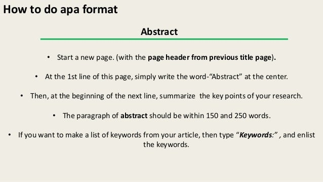 Apa Abstract Format  BesikEightyCo