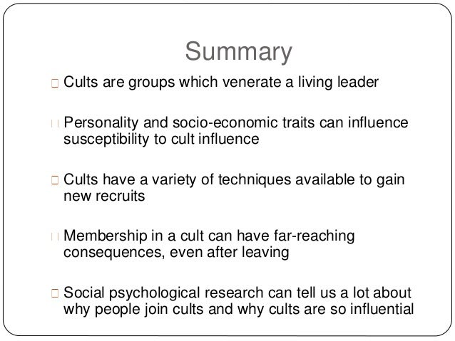 Ten Reasons Why People Join a Cult