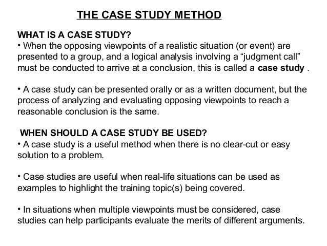 A (VERY) BRIEF REFRESHER ON THE CASE STUDY METHOD