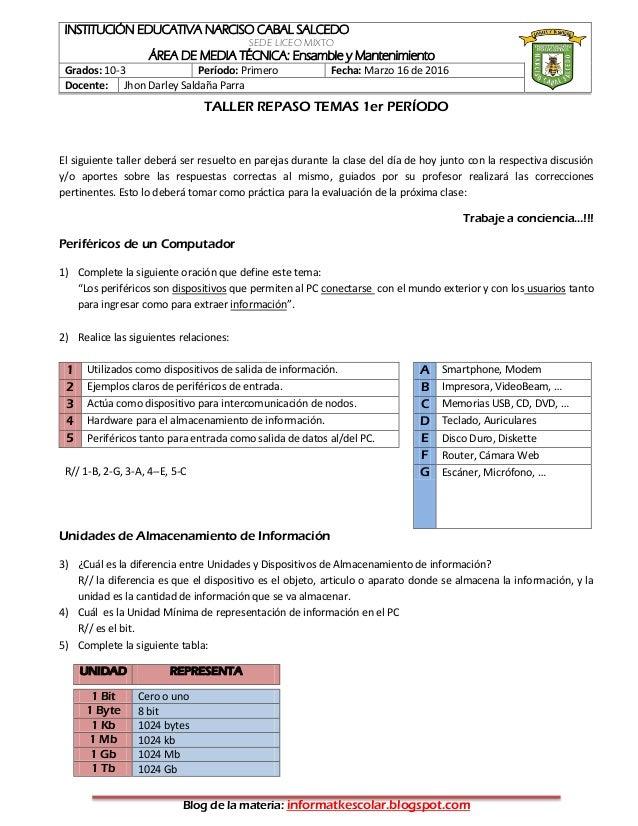 INSTITUCIÓN EDUCATIVA NARCISO CABAL SALCEDO SEDE LICEO MIXTO ÁREA DE MEDIA TÉCNICA: Ensamble y Mantenimiento Grados: 10-3 ...
